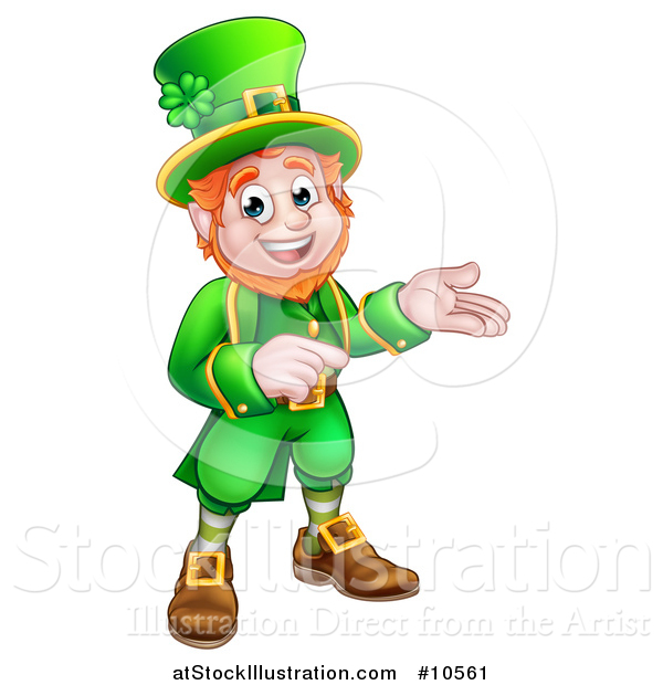 Vector Illustration of a Cartoon Friendly St Patricks Day Leprechaun Presenting and Pointing