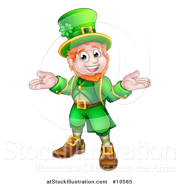 Vector Illustration of a Cartoon Friendly St Patricks Day Leprechaun Shrugging