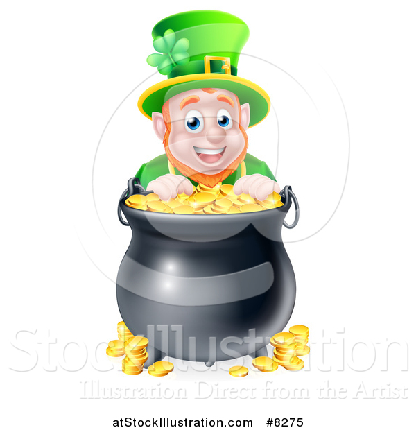 Vector Illustration of a Cartoon Friendly St Patricks Day Leprechaun Smiling over a Pot of Gold