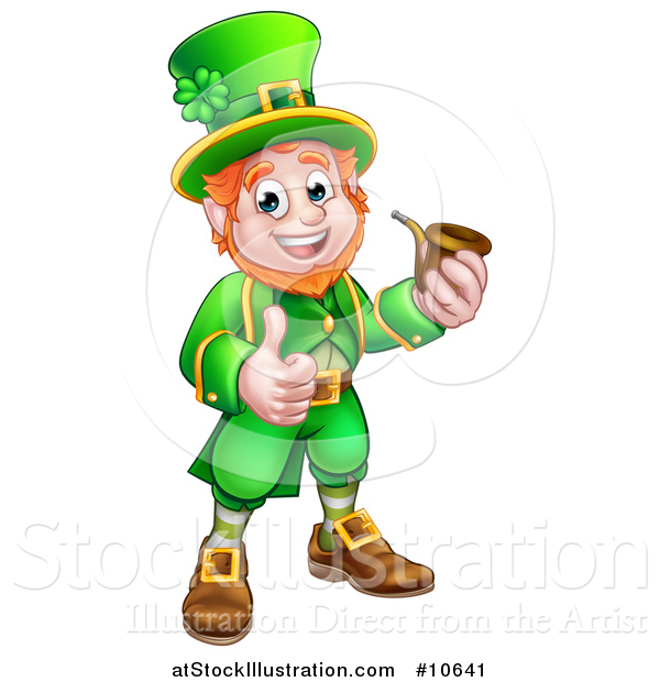 Vector Illustration of a Cartoon Friendly St Patricks Day Leprechaun Smoking a Pipe and Giving a Thumb up
