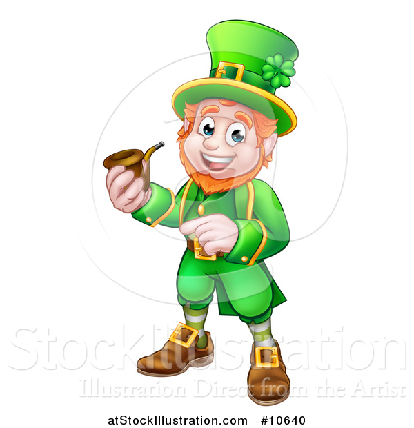 Vector Illustration of a Cartoon Friendly St Patricks Day Leprechaun Smoking a Pipe and Pointing