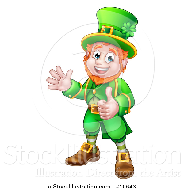 Vector Illustration of a Cartoon Friendly St Patricks Day Leprechaun Waving and Giving a Thumb up