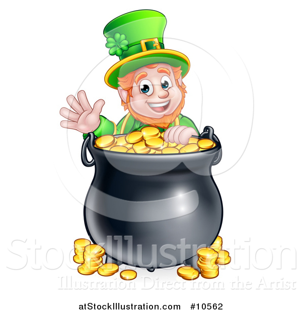 Vector Illustration of a Cartoon Friendly St Patricks Day Leprechaun Waving over a Pot of Gold