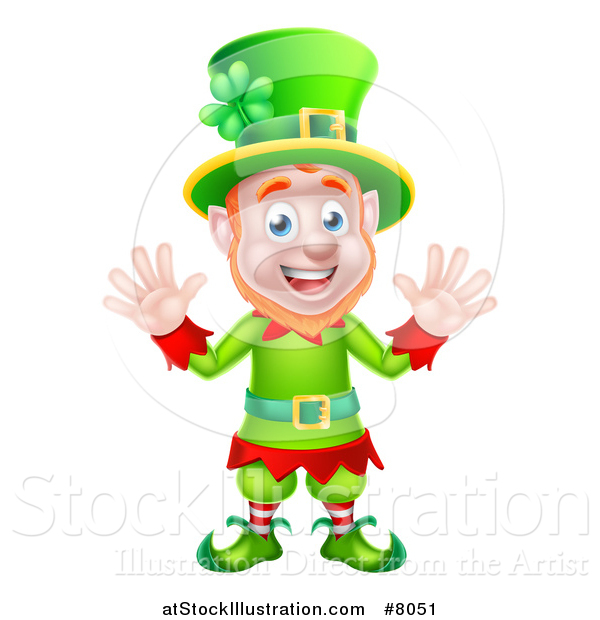 Vector Illustration of a Cartoon Friendly St Patricks Day Leprechaun Waving with Both Hands