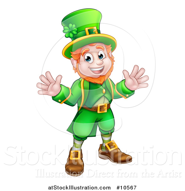 Vector Illustration of a Cartoon Friendly St Patricks Day Leprechaun Welcoming