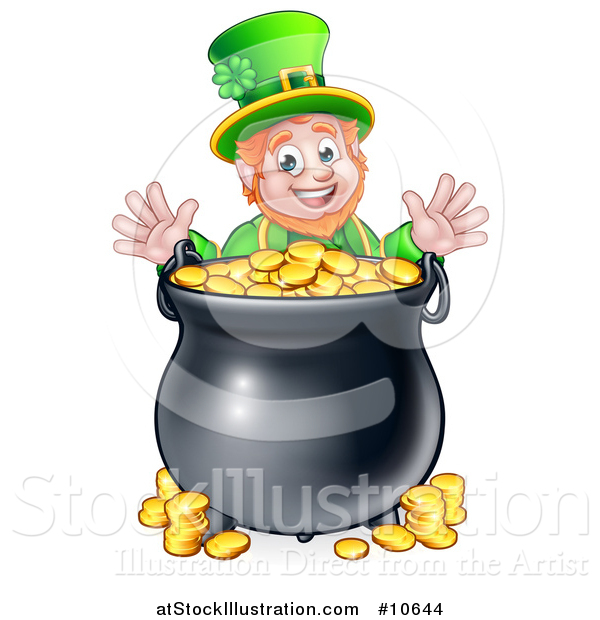 Vector Illustration of a Cartoon Friendly St Patricks Day Leprechaun with a Pot of Gold