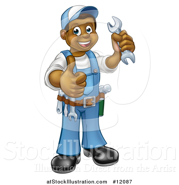 Vector Illustration of a Cartoon Full Length Black Male Plumber Holding a Wrench and Giving a Thumb up