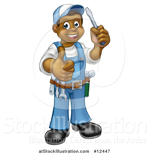 Vector Illustration of a Cartoon Full Length Happy Black Male Handyman Holding a Screwdriver and Giving a Thumb up
