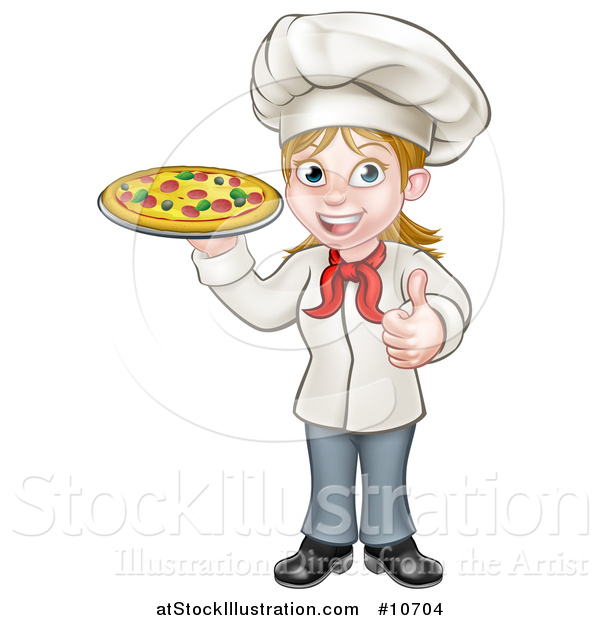 Vector Illustration of a Cartoon Full Length Happy White Female Chef Giving a Thumb up and Holding a Pizza