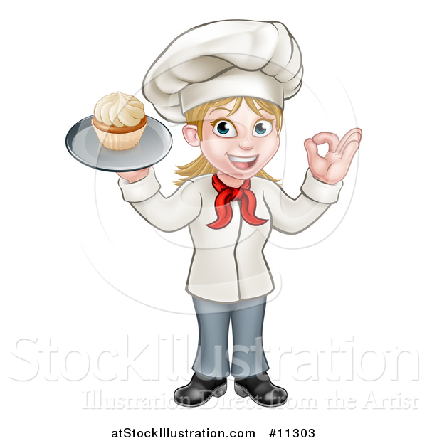 Vector Illustration of a Cartoon Full Length Happy White Female Chef Holding a Cupcake on a Tray and Gesturing Perfect