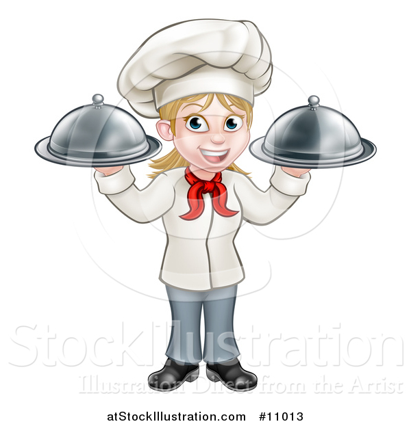 Vector Illustration of a Cartoon Full Length Happy White Female Chef Holding Two Cloche Platters