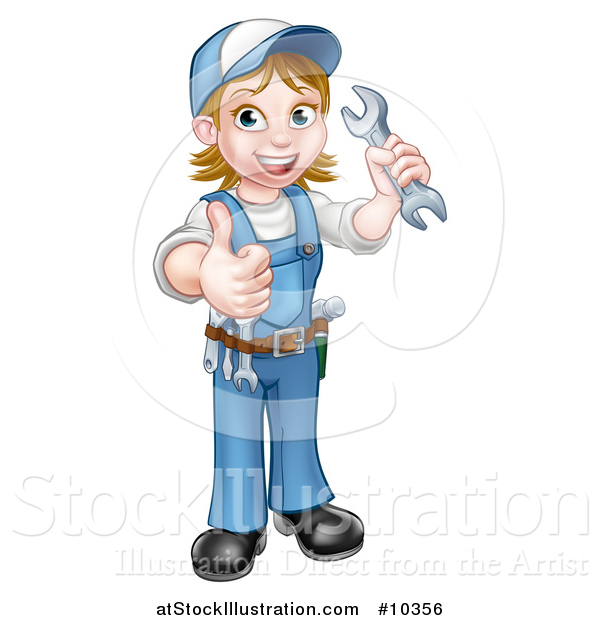 Vector Illustration of a Cartoon Full Length Happy White Female Mechanic Wearing a Hard Hat, Holding a Spanner Wrench and Giving a Thumb up