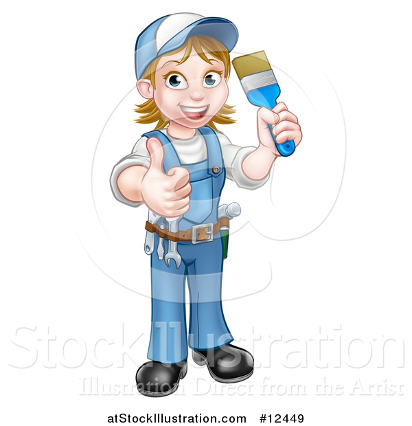 Vector Illustration of a Cartoon Full Length Happy White Female Painter Holding up a Brush and Thumb