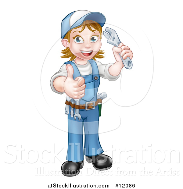 Vector Illustration of a Cartoon Full Length Happy White Female Plumber Holding an Adjustable Wrench and Giving a Thumb up