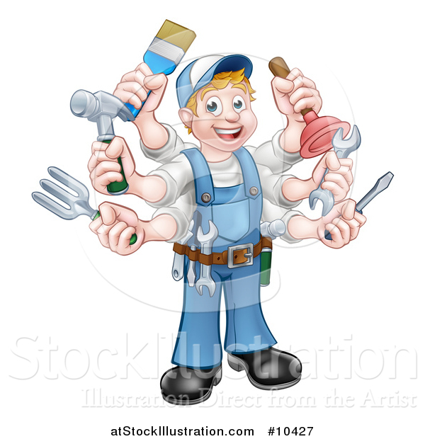 Vector Illustration of a Cartoon Full Length Happy White Handy Man with Six Arms, Holding Tools