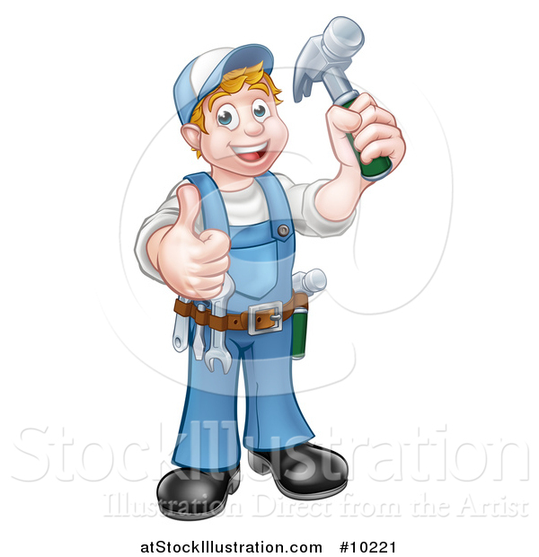 Vector Illustration of a Cartoon Full Length Happy White Male Carpenter Holding a Hammer and Giving a Thumb up