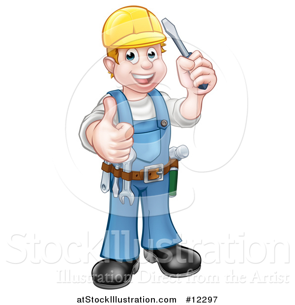 Vector Illustration of a Cartoon Full Length Happy White Male Electrician Holding up a Screwdriver and Thumb