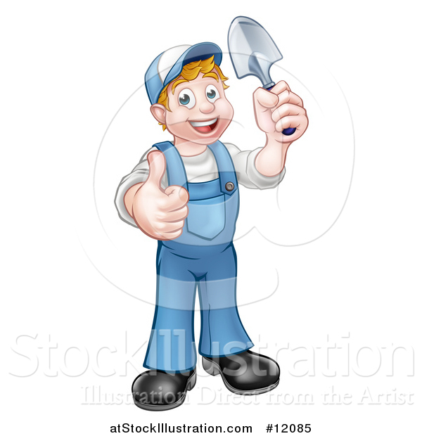 Vector Illustration of a Cartoon Full Length Happy White Male Gardener in Blue, Holding a Garden Trowel and Giving a Thumb up