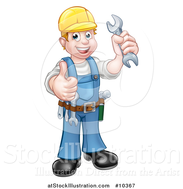 Vector Illustration of a Cartoon Full Length Happy White Male Mechanic Wearing a Hard Hat, Holding a Spanner Wrench and Giving a Thumb up