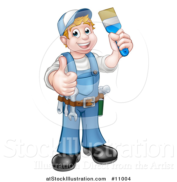 Vector Illustration of a Cartoon Full Length Happy White Male Painter Holding up a Brush and Giving a Thumb up