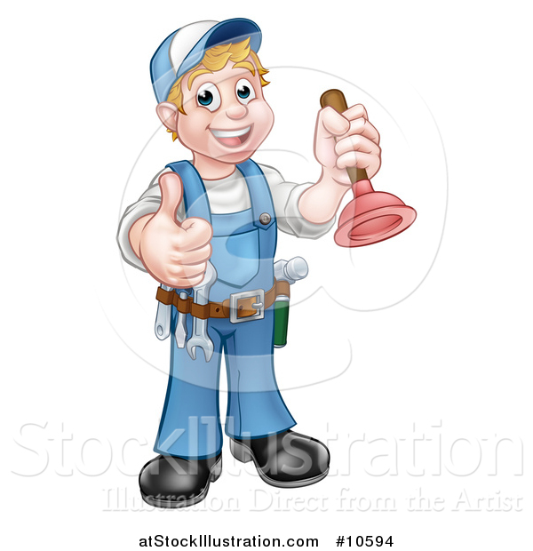 Vector Illustration of a Cartoon Full Length Happy White Male Plumber Holding a Plunger and Giving a Thumb up