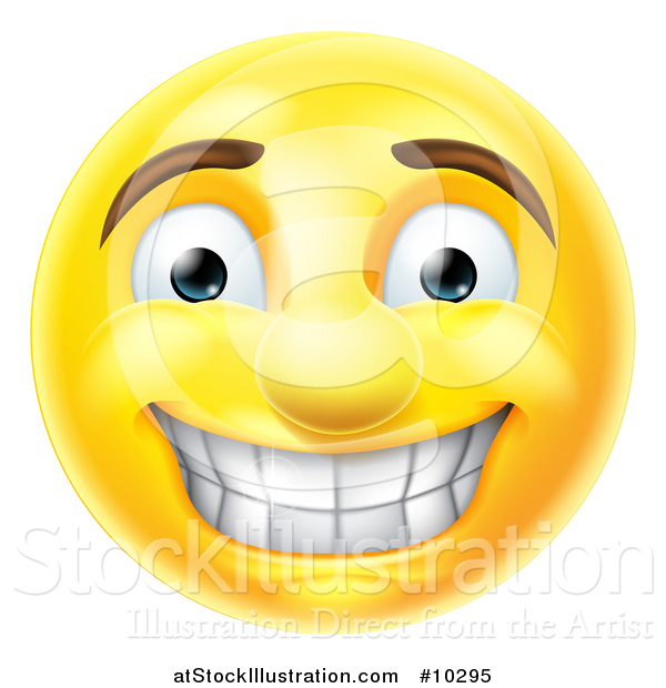 Vector Illustration of a Cartoon Grinning Yellow Smiley Face Emoji Emoticon