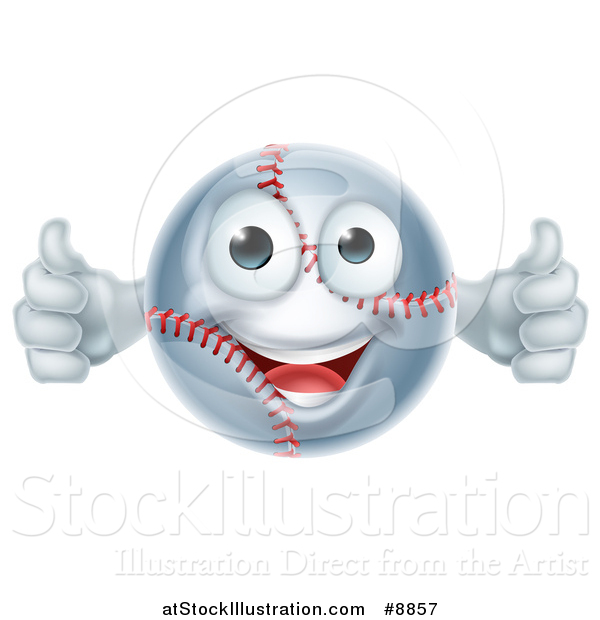 Vector Illustration of a Cartoon Happy Baseball Character Giving Two Thumbs up