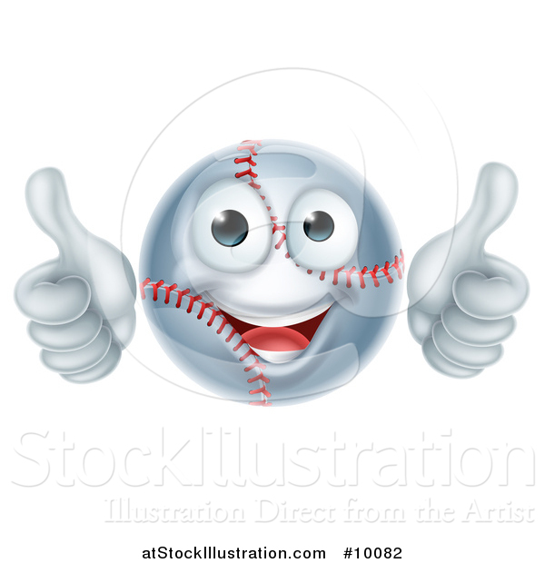 Vector Illustration of a Cartoon Happy Baseball Mascot Giving Two Thumbs up
