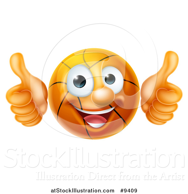 Vector Illustration of a Cartoon Happy Basketball Character Giving Two Thumbs up
