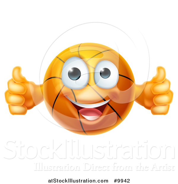 Vector Illustration of a Cartoon Happy Basketball Character Holding Two Thumbs up