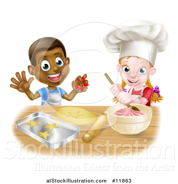 Vector Illustration of a Cartoon Happy Black Boy and White Girl Baking Star Shaped Cookies
