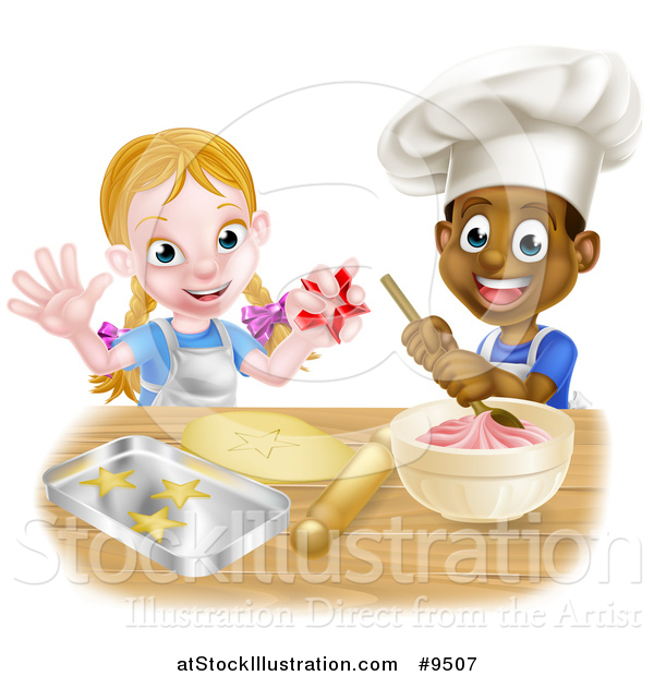 Vector Illustration of a Cartoon Happy Black Boy and White Girl Making Frosting and Star Shaped Cookies
