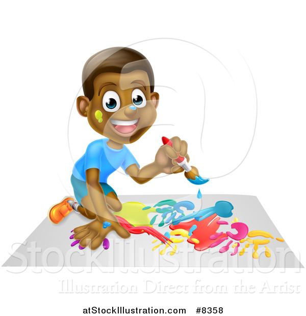 Vector Illustration of a Cartoon Happy Black Boy Kneeling and Painting Artwork