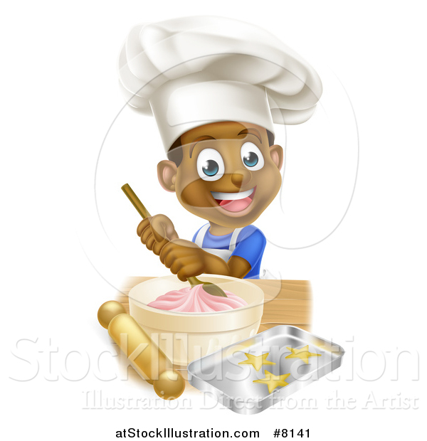 Vector Illustration of a Cartoon Happy Black Boy Making Frosting and Star Cookies