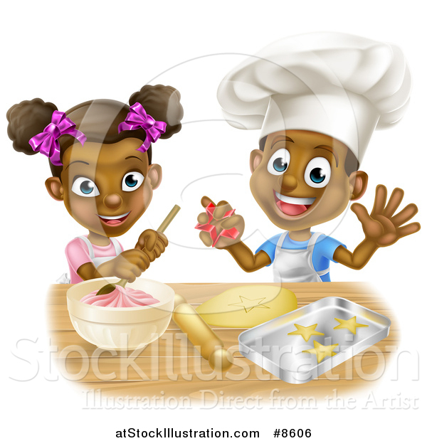 Vector Illustration of a Cartoon Happy Black Girl and Boy Making Frosting and Baking Star Cookies