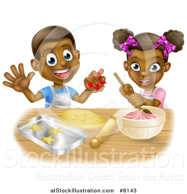 Vector Illustration of a Cartoon Happy Black Girl and Boy Making Frosting and Making Star Cookies