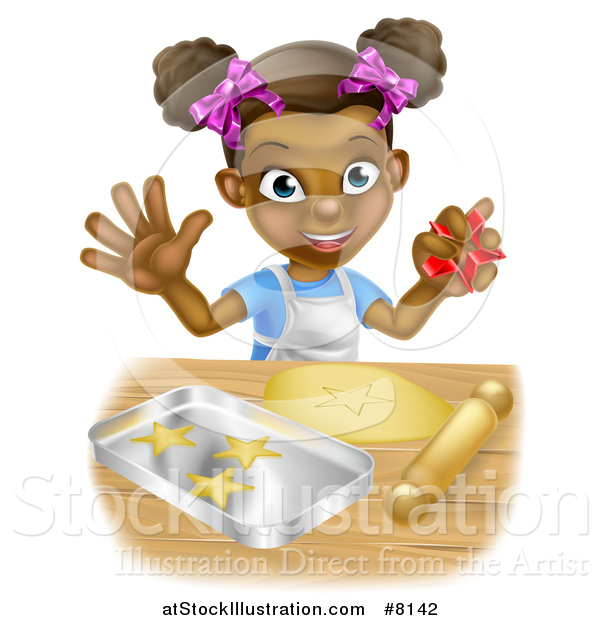 Vector Illustration of a Cartoon Happy Black Girl Holding a Cutter and Making Star Cookies