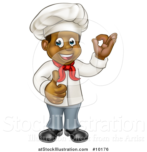 Vector Illustration of a Cartoon Happy Black Male Chef Gesturing Ok or Perfect and Giving a Thumb up