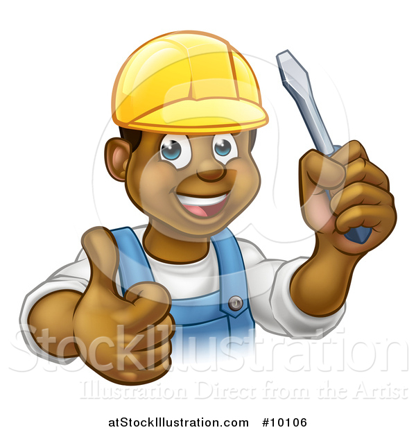Vector Illustration of a Cartoon Happy Black Male Electrician Wearing a Hardhat, Giving a Thumb Up, and Holding a Screwdriver