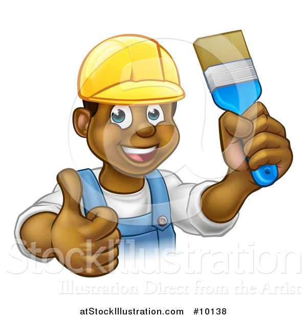 Vector Illustration of a Cartoon Happy Black Male Painter Holding up a Brush and Giving a Thumb up