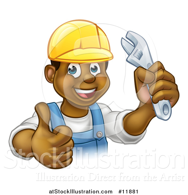 Vector Illustration of a Cartoon Happy Black Male Plumber Holding an Adjustable Wrench and Giving a Thumb up