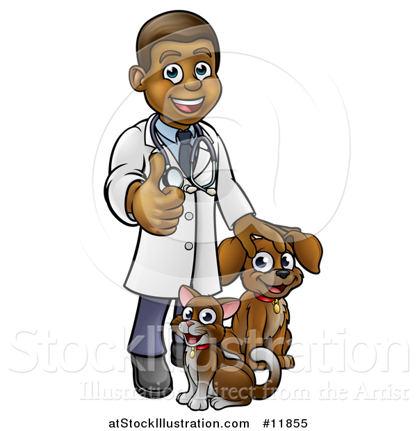 Vector Illustration of a Cartoon Happy Black Male Veterinarian Giving a Thumb up and Standing with a Dog and Cat