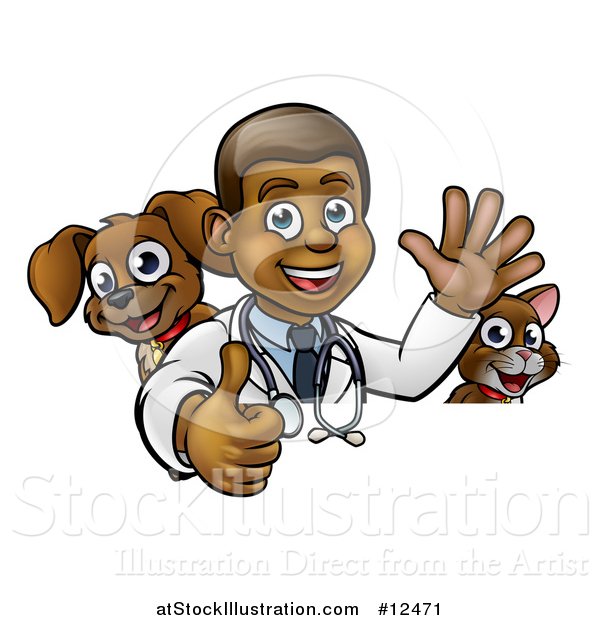 Vector Illustration of a Cartoon Happy Black Male Veterinarian Giving a Thumb up with a Dog and Cat over a Sign