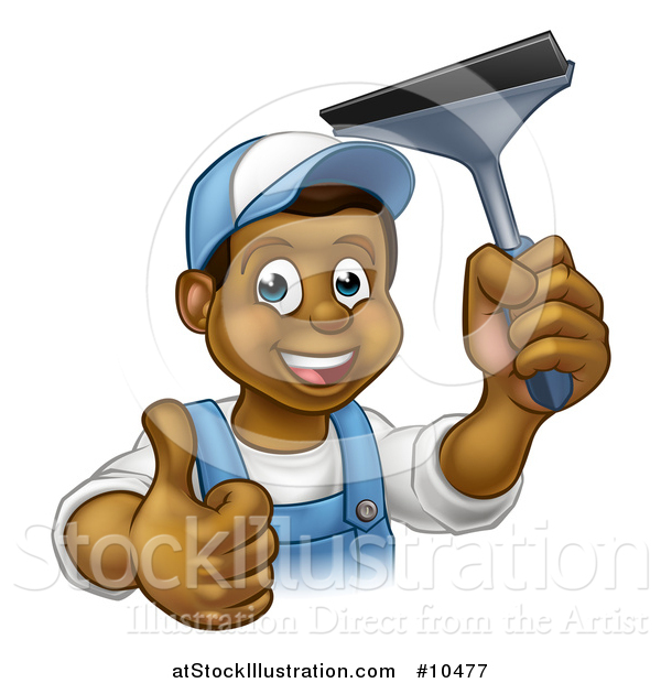Vector Illustration of a Cartoon Happy Black Male Window Cleaner in Blue, Giving a Thumb up and Holding a Squeegee