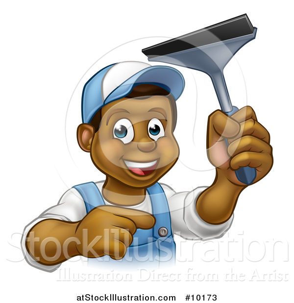 Vector Illustration of a Cartoon Happy Black Male Window Cleaner in Blue, Pointing and Holding a Squeegee