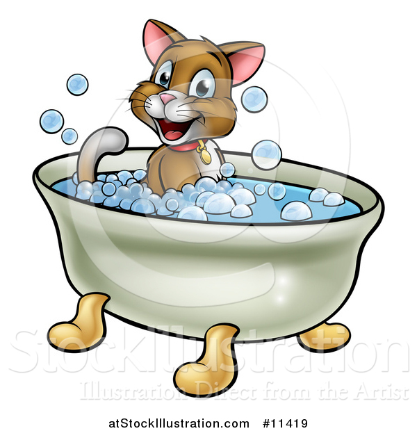 Vector Illustration of a Cartoon Happy Brown Cat Sitting in a Bath Tub
