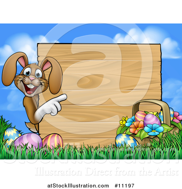 Vector Illustration of a Cartoon Happy Brown Easter Bunny Rabbit Pointing Around a Wood Sign Against Sky