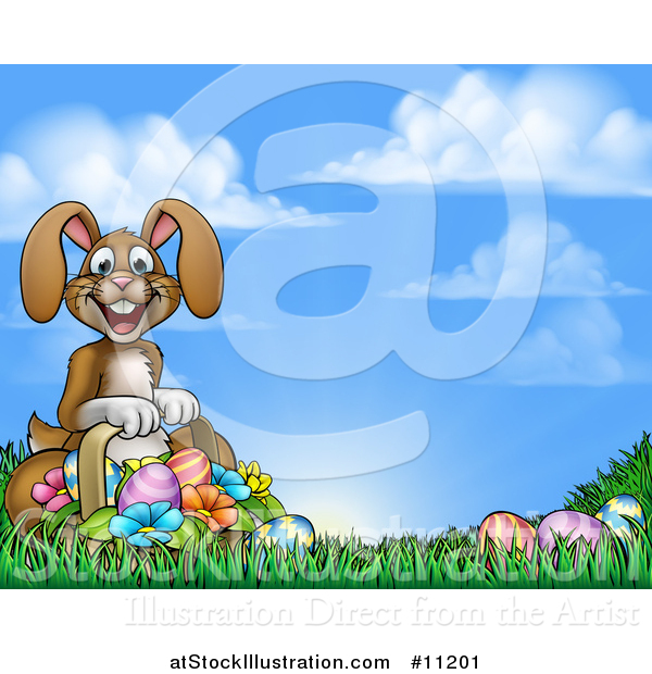 Vector Illustration of a Cartoon Happy Brown Easter Bunny Rabbit with a Basket and Eggs in Grass Against Sky