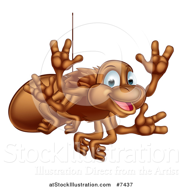Vector Illustration of a Cartoon Happy Brown Spider Waving