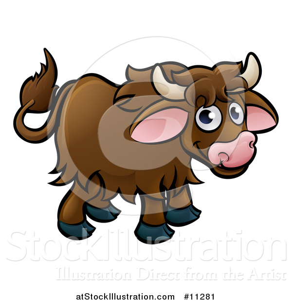 Vector Illustration of a Cartoon Happy Brown Yak